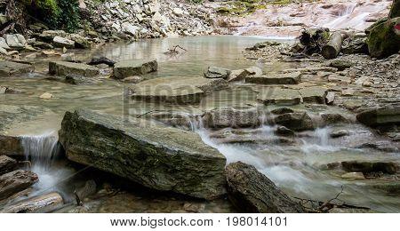 Beautiful Mountain River Pshada. Krasnodarsky krai Russia