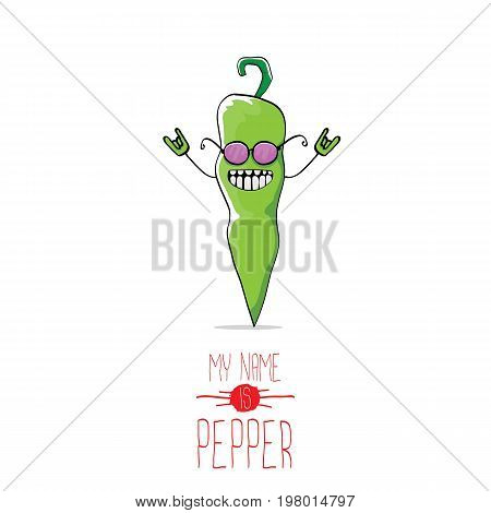 vector funny cartoon green pepper character isolated on white background. My name is pepper vector concept. vegetable funky character