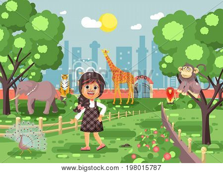 Stock vector illustration banner for site with schoolchild on walk school zoo excursion zoological garden, brunette little girl monkey, peacock, elephant, lion, tiger, giraffe, wild animals flat style