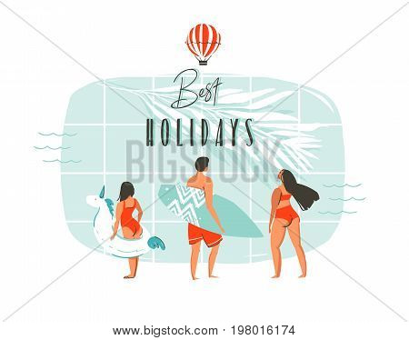 Hand drawn vector abstract summer time fun cartoon illustration with young happy family, swimming pool, tropical palm leaves, hot air balloon and modern typography Best holidays isolated on white.