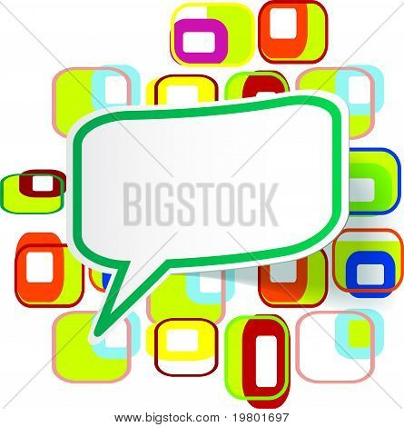 Sticker Over Abstract Colorful Background
