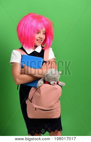 Back To School And Education Concept. School Girl With Smile