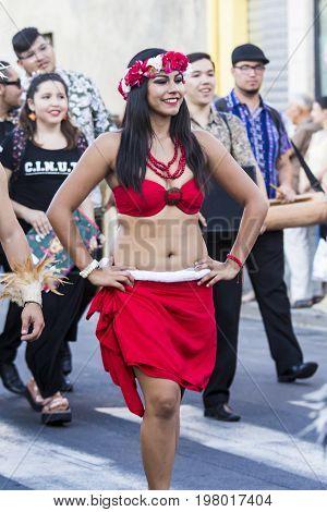 QUARTU S.E., ITALY - JULY 15, 2017: 31 Sciampitta - International Folklore Festival - Sardinia (Ballet Folkloristico Integration University of Tarapaca - Chile)