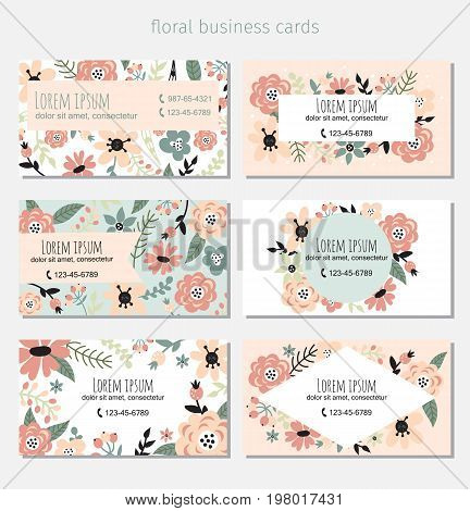 Six business cards with floral elements. Complied with the standard sizes.