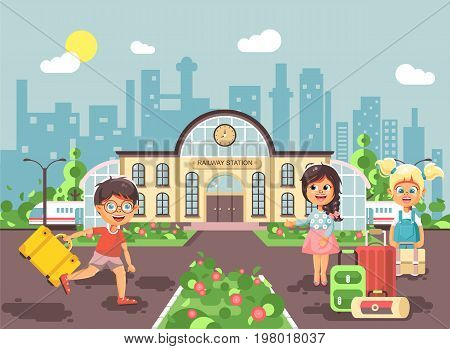 Stock vector illustration of cartoon characters children, late boy running, two little girls standing at railway station building with bags and suitcases awaiting train flat style city background