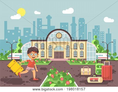 Stock vector illustration of cartoon character child, late boy running at railway station building with bags and suitcases awaiting train for travel trip holiday weekend in flat style city background