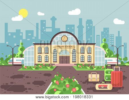 Stock vector illustration banner of cartoon railway station building with bags and suitcases, train departure or arrival, for travel trip holiday weekend in flat style on city background