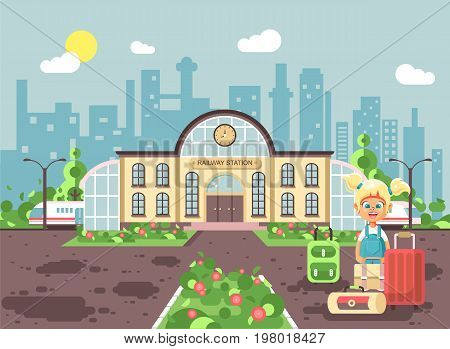 Stock vector illustration of cartoon characters child lonely little blonde girl standing at railway station building with bags and suitcases awaiting train for travel trip flat style city background.