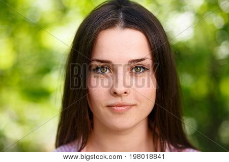 Young Beautiful Freckled Green-eyed Woman Face Portrait With Hea
