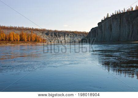 Siberian taiga river in autumn in the North of Krasnoyarsk region. Moierokan river in Evenkia. Russia