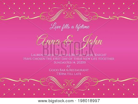 Wedding card - White abstract gold vintage frame and gold dot on pink background vector template design