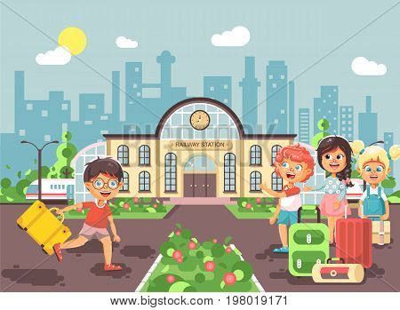 Stock vector illustration cartoon characters late boy and girl running to little children standing at railway station building with bags and suitcases awaiting train flat style city background.