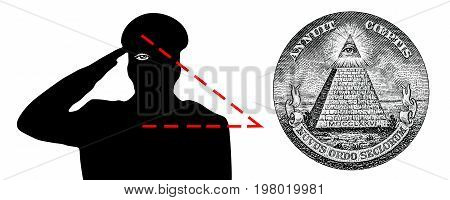 The all-seeing eye the new world order the Illuminati. The military salutes