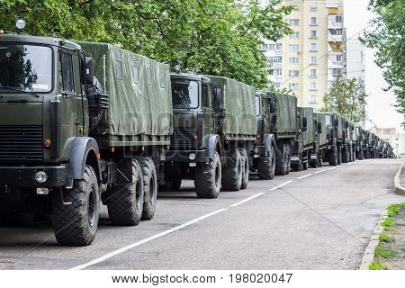 A column of military trucks. Independence Day parade Minsk Belarus