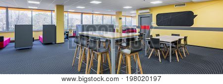 Library Interior With High Tables