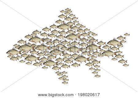 Flock of fish illustration, isolated on white background