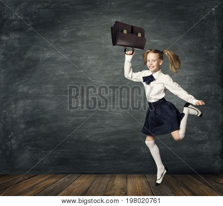 Child Running to School Girl Kid Jump in Classroom over Blackboard Happy Back to School Concept