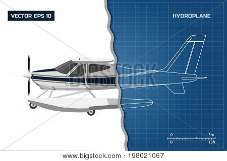 Engineering blueprint of plane. Side view of hydroplane. Industrial drawing of aircraft. Vector illustration