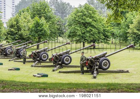 Minsk Belarus - 03 July 2017 Cannon on the parade Independence Day