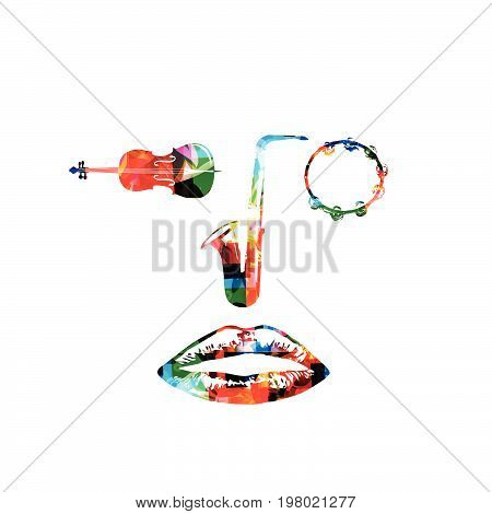 Music instruments, saxophone, violoncello and tambourine background. Music instruments forming human face isolated vector illustration design