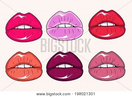 Six glamour lips with different lipstick colors. Vector stock.