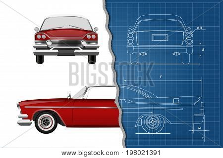 Engineering blueprint of retro car. Vintage cabriolet. Front, side and back view. Industrial drawing. Vector illustration