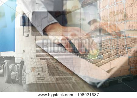 Double exposure of truck and businessman with laptop. Wholesale and logistic concept