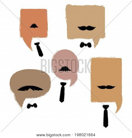 Dialog box with mustaches and ties. A collection of vector dialog boxes for men. Art.