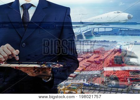 Multi exposure of seaport, businessman with tablet and different kinds of transport. Wholesale and logistic concept