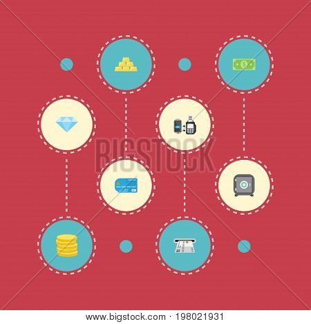 Flat Icons Small Change, Ingot, Teller Machine And Other Vector Elements