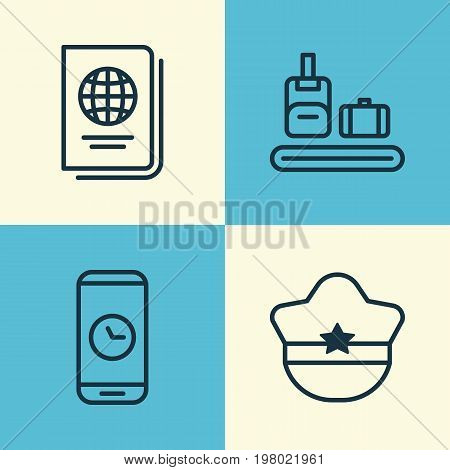 Travel Icons Set. Collection Of Call Duration, Identification Document, Pilot Hat And Other Elements