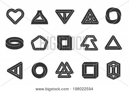 Impossible shapes set. Geometric optical illusion figures, two-dimensional image, human mind interpret trick. Vector flat style illustration isolated on white background