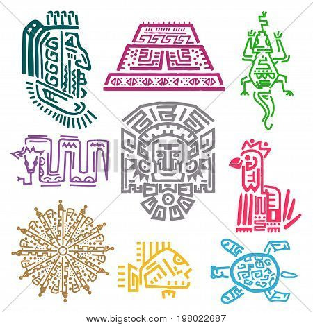 Maya and Aztec symbols. Cultures and history concept, bright iconographic mythological ornaments for decor. Vector flat style illustration isolated on white background
