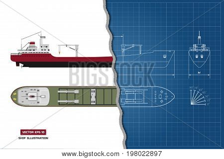 Blueprint of cargo ship. Top, side and front view. Container transport. Vector illustration