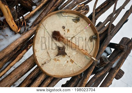Koryak shaman drum used as a musical instrument. A tambourine with a mallet the traditional instrument of the aboriginal people of Kamchatka. Russia