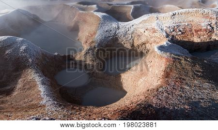 Fumaroles geothermal area. Active planet. Altiplano Bolivia South America