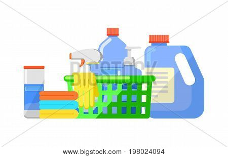 Chemical cleaning products isolated icon in flat style. House cleaning tool, housework supplies vector illustration