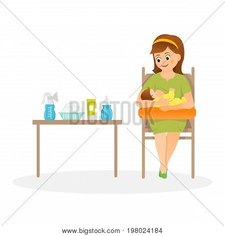 Mother is breastfeeding on a pillow for feeding. Isolated on white background.Vector illustration