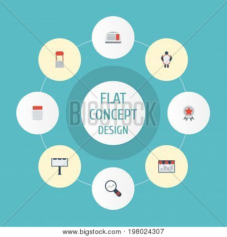 Flat Icons Laptop, Man With Banner, Placard And Other Vector Elements