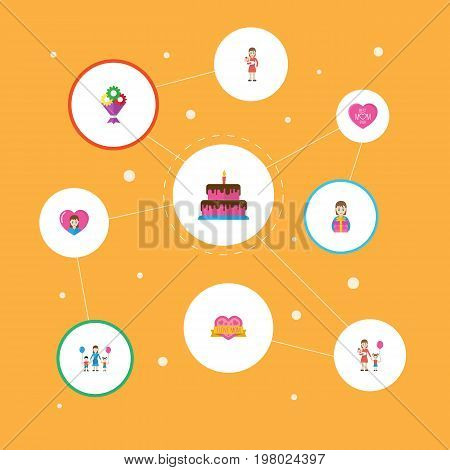 Happy Mother's Day Flat Icon Layout Design With Flower, Emotion And Pastry Symbols
