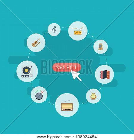 Flat Icons Quaver, Knob, Harmonica And Other Vector Elements