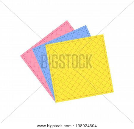 Colored cleaning cloths isolated icon in flat style. House cleaning tool, housework supplies vector illustration