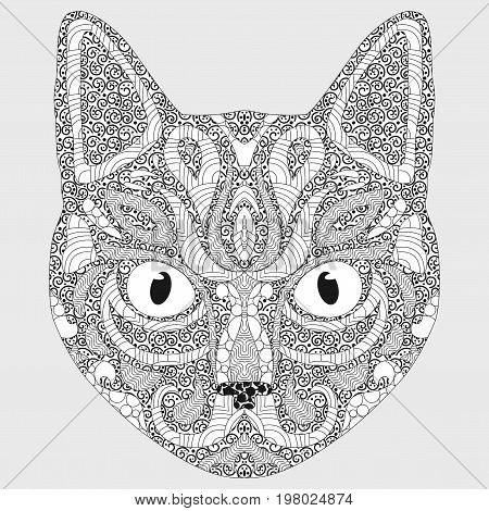 Stylized portrait of a cat. The head of a cat. Linear Art. Ornamental portrait. A pet. Mask. Tattoo.