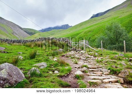 Path to Scafell Pike, view of the mountains, Lake District National Park, England, selective focus