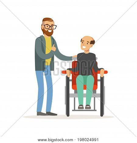 Meeting of friends, two men talking, one disabled man sitting in a wheelchair, healthcare assistance and accessibility colorful vector Illustration on a white background