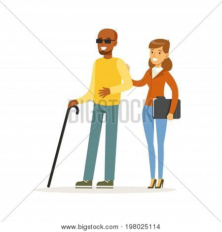 Young smiling female volunteer helping and supporting blind man, healthcare assistance and accessibility colorful vector Illustration on a white background