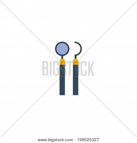 Flat Icon Mirror With Probe Element. Vector Illustration Of Flat Icon Equipment Isolated On Clean Background