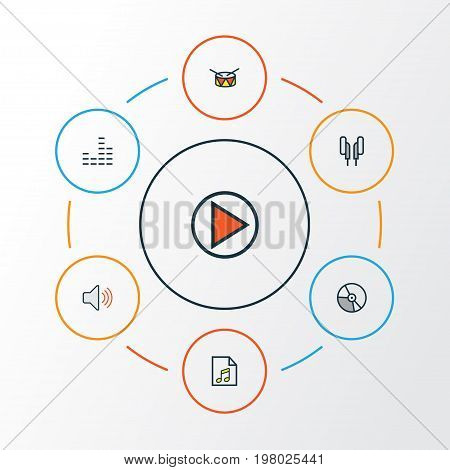 Multimedia Colorful Outline Icons Set. Collection Of Mixer, Barrel, Play And Other Elements