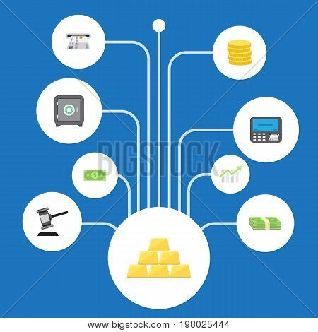 Flat Icons Teller Machine, Cash Stack, Ingot And Other Vector Elements