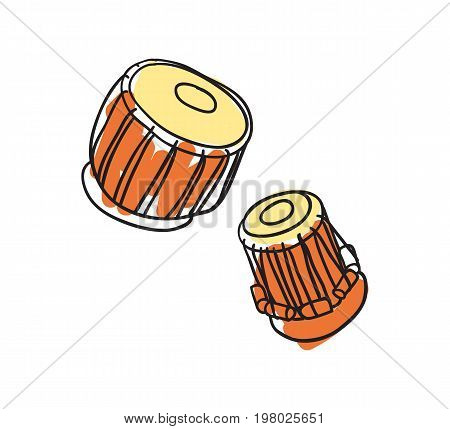 Musical instrument drum hand drawn icon isolated on white background vector illustration. Indian ethnic culture element.